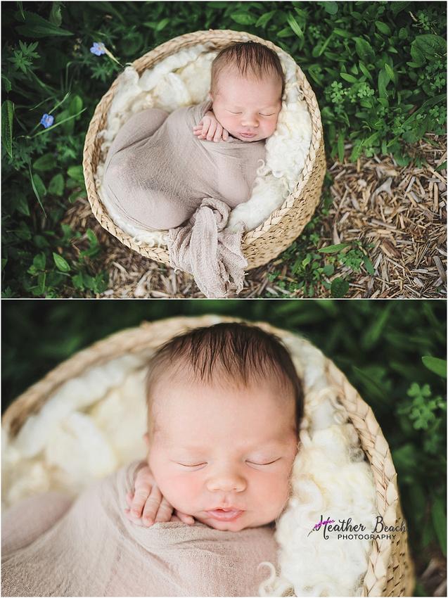 Sun Prairie newborn photographer, Sun Prairie baby photographer, outdoor newborn photography, basket, wagon