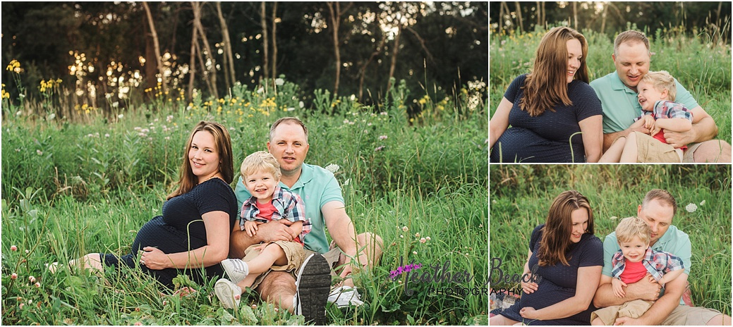 Sun Prairie Maternity photographer, Madison maternity photographer, pregnancy photos, family of 4, second baby, outdoor photography, field, golden hour, flowers, baby girl, big brother