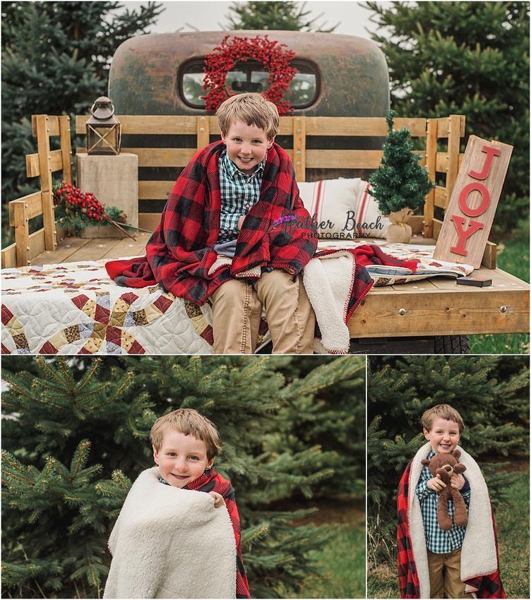 Sun Prairie family photographer, Madison family photographer, Christmas photos, vintage truck, Sun Prairie baby photographer, Sun Prairie child photographer, Christmas mini session, sled, berry wreath, evergreen trees
