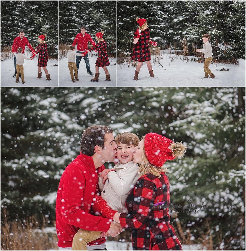 Sun Prairie family photographer, Madison family photographer, Sun Prairie portrait photographer, Sun Prairie child photographer, outdoor photography, snow portraits, snow photo session, family of 3, boy, christmas photos