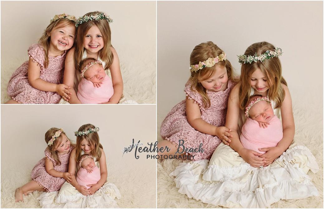 Baby girl, three girls, sisters, newborn with family, Sun Prairie newborn photographer, newborn photography, Sun Prairie portrait photographer, Madison newborn photographer, baby in pink
