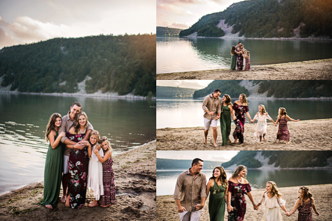 Sun Prairie family photographer, family of 5, girls, family on beach, Wisconsin Dells bluffs