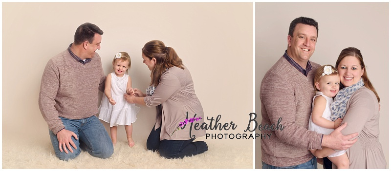 Studio pictures of family of there with 2-year-old