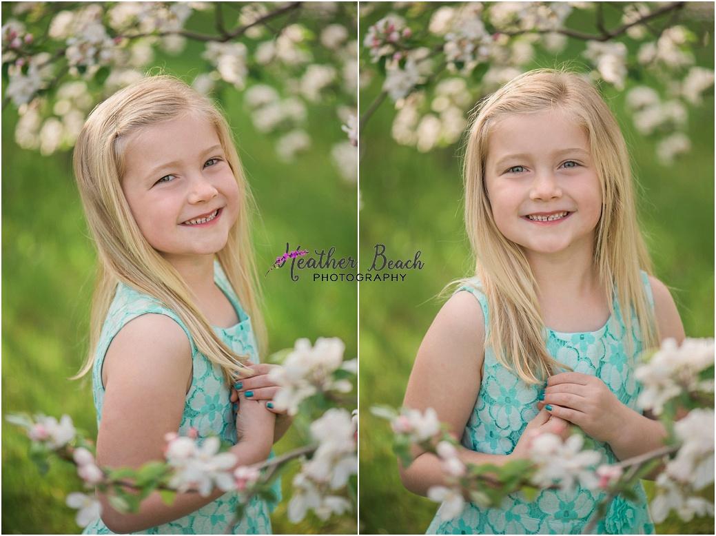 Sun Prairie child photographer, Madison child photographer, spring blossoms, teepee, swing