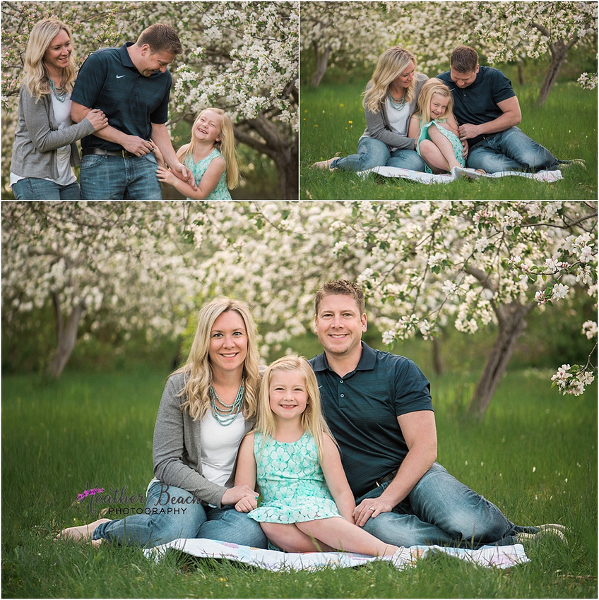 Sun Prairie family photographer, Madison family photographer, spring blossoms, spring pictures, family of 3