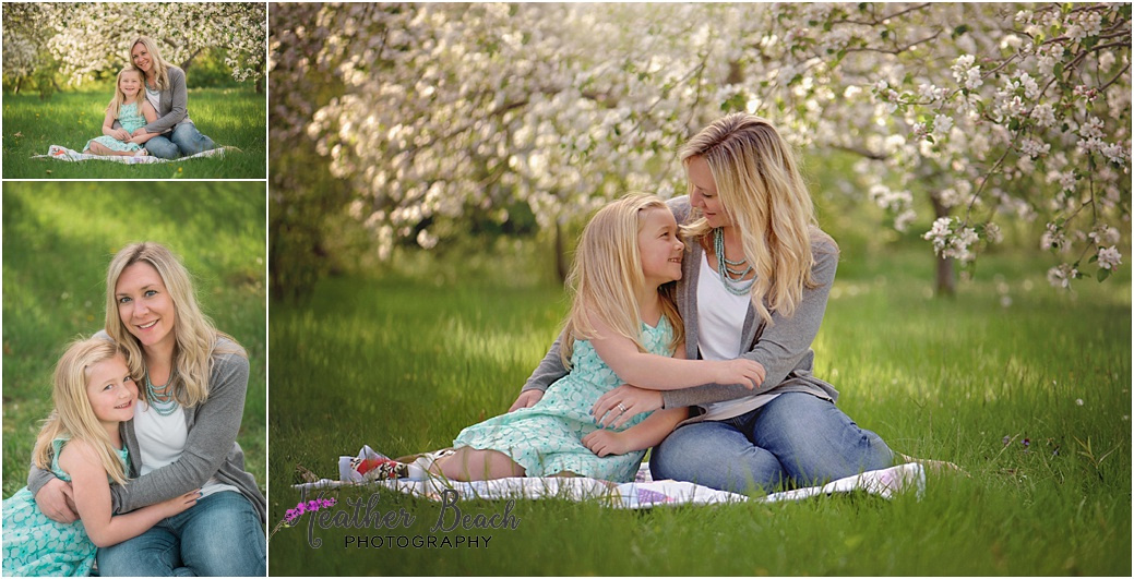 Sun Prairie portrait photographer, Madison portrait photographer, Sun Prairie child photographer, spring blossoms, mother and daughter, mother and child, mommy and me pictures