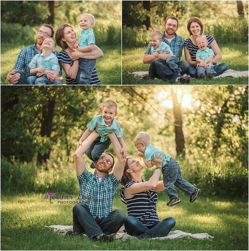Family of 4, Sun Prairie family photographer, Sun Prairie portrait photographer, Sun Prairie child photographer, siblings, boardwalk, golden light photo session