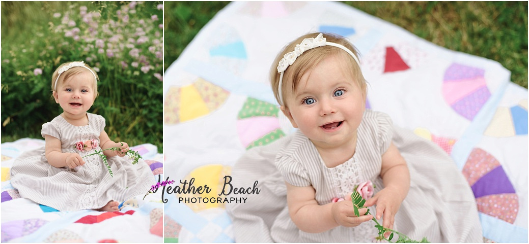 Sun Prairie family photographer, Madison family photographer, Sun Prairie baby photographer, flowers, quilt, happy baby