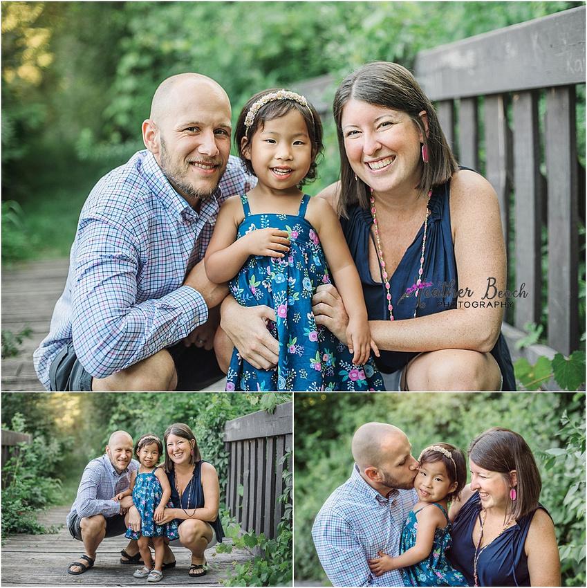 Sun Prairie family photographer, Madison family photographer, outdoor photography, sunset photography, family of 3, bridge, stones