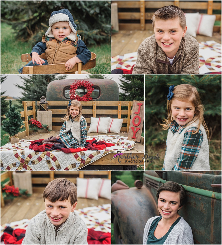 Sun Prairie family photographer, Madison family photographer, Christmas photos, vintage truck, Sun Prairie baby photographer, Sun Prairie child photographer, Christmas mini session, sled, berry wreath, evergreen trees