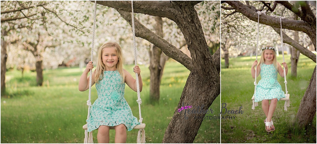 Sun Prairie child photographer, Madison child photographer, spring blossoms, teepee, swing