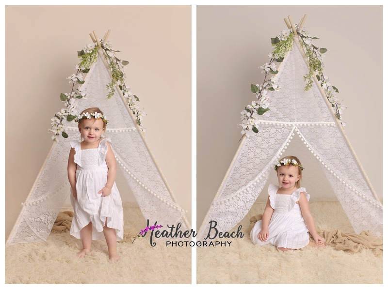 Child photos, studio pictures with swing, wood, flowers and teepee