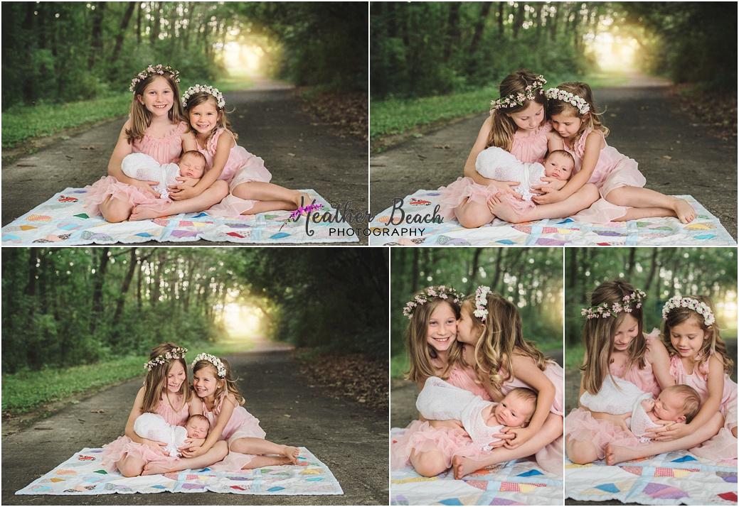 Sun Prairie newborn photographer, Sun Prairie baby photographer, outdoor newborn photography, Sun Prairie family photographer, siblings with newborn, siblings